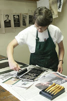 "Liz Foley printing her image for the woodcut calendar, ""July"""
