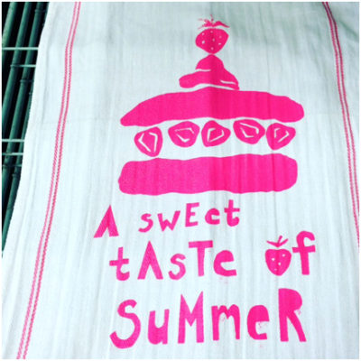 Nancy's screen printed tea towel.