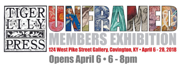 a banner image with the Tiger Lily Press woodcut logo on the left and UNFRAMED show date and times on the right