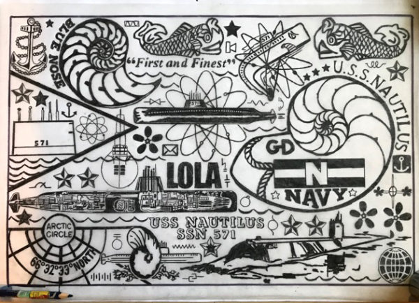 Jonpaul Smith's work in progress, linocut design. A flatlay (top down) view of a detailed print of many drawings: part of an arctic circle patch, various stylized drawings of nautilus shells, submarine, LOLA, stars, waves, and other marine imagery in pencil on paper.